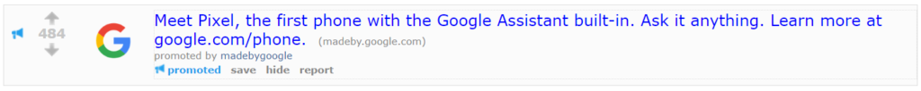 reddit ad for android smartphone